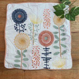 Pier 1 Flower Embroidered 17x17 Pillow Cover